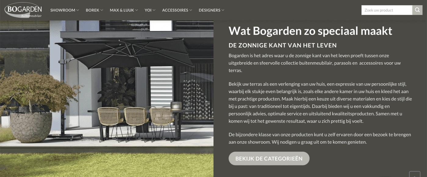 Nieuwe webshop Bogarden buitenmeubilair